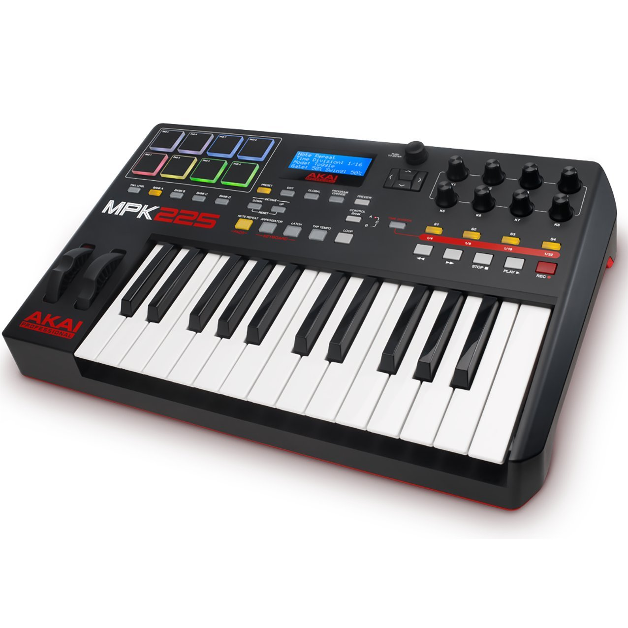 Akai Professional MPK225   25-Key USB MIDI Keyboard & Drum Pad Controller with LCD Screen (8 Pads / 8 Knobs), VIP Software Download Included by Akai Professional