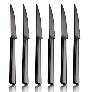Steak Knife Set Black 6 Piece 18/0 Stainless Steel Heavy Duty Knives 9 inch Service for 6 Silverware Flatware Utensils Dinner Dishwasher Safe Mirror Polished by OMGard