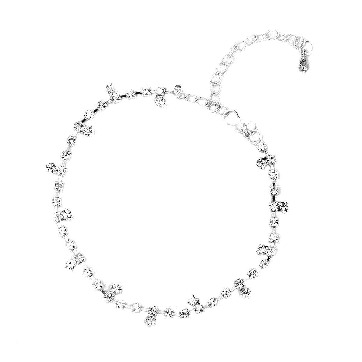 VORCOOL Femmes Strass Bracelet de Cheville - Réglable - Argent