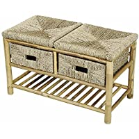 Heather Ann Creations Isla Bamboo   Bench with 2-drawer, 18.1-inch, Natural