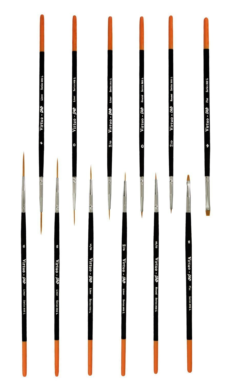 Virtuo Acrylic and Watercolors 12 Long Handles Pro Series 902L Detail Paint Brushes for Oil