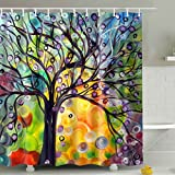 Tree Shower Curtain BROSHAN Tree Shower Curtain Fabric, Spring Watercolor Oil Painting Colorful Tree Life Shower Curtains For Bathroom, Nature Bathroom Decor Accessories Set,Red,Yellow,Green, Purple, Brown,72 x 72 inch