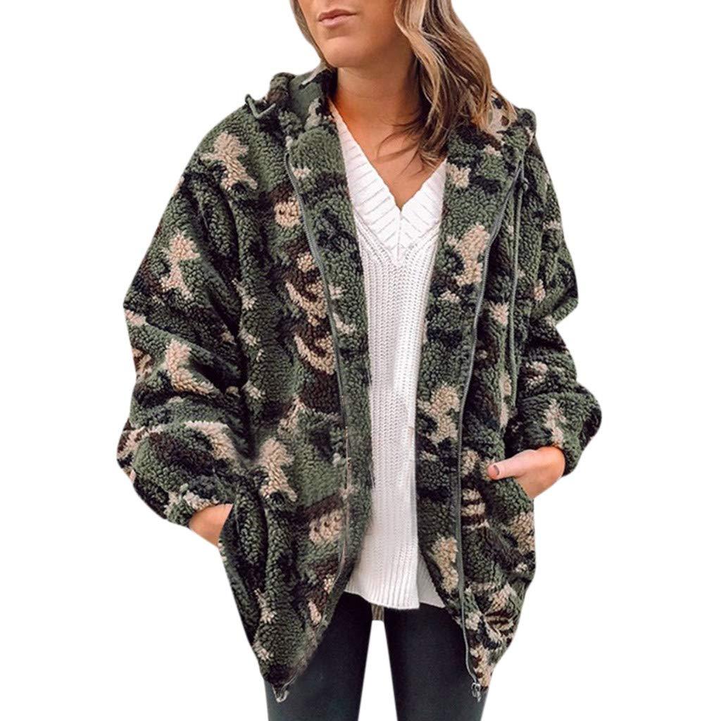 Fuax Fur Jacket Womans, HOSOME Womens Winter Warm Fleece Camouflage with Pockets Zip Open Front Outwear Coat by HOSOME Women Top