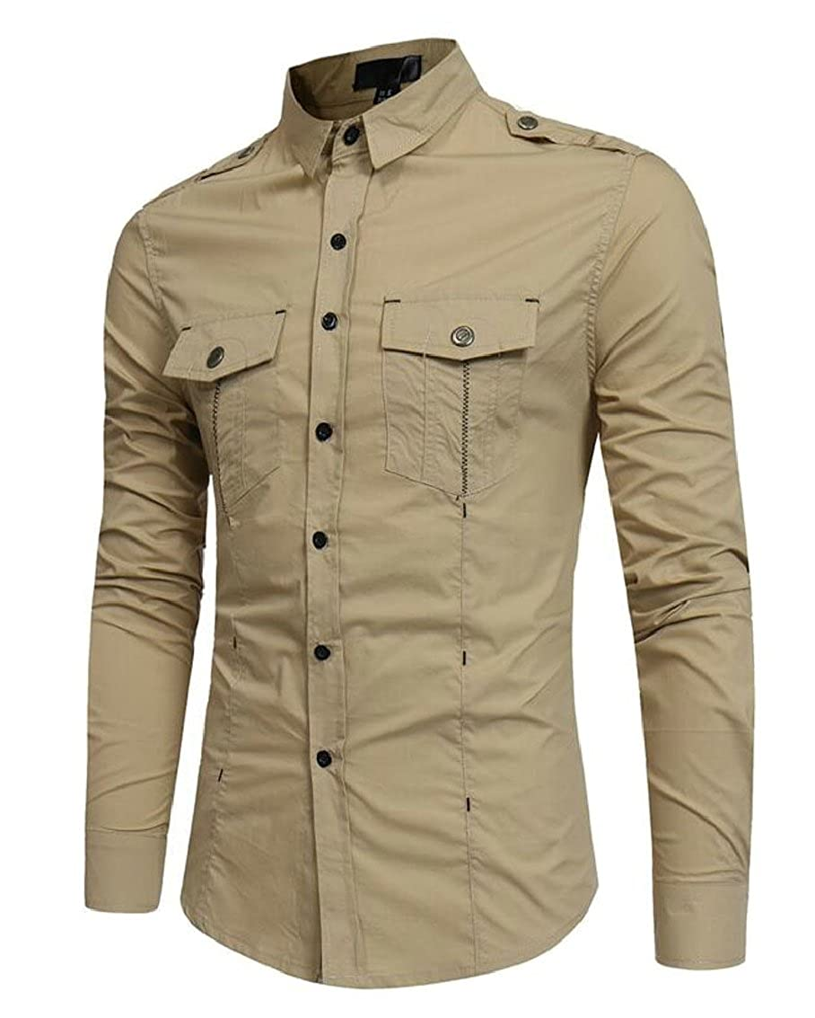 Miracle Men Military Casual Cotton Long Sleeve Button Down Army Cargo Shirts
