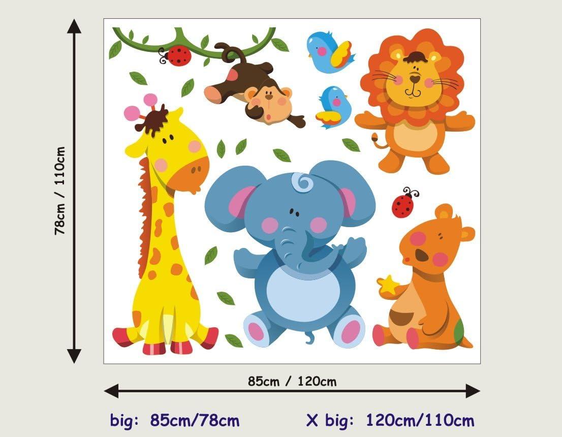 85cm//78cm Safari Lion Elephant Giraffe Stickers Kids Children Room Wall Stickers Decal Wall Art 210