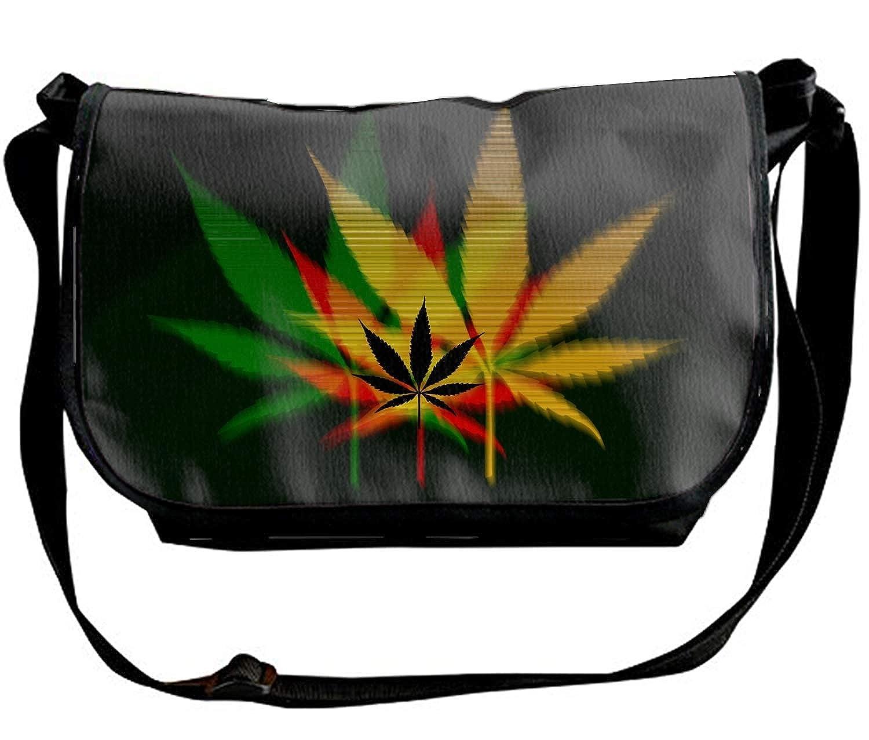Personalized Cross Body Bag Marijuana Leaf Pattern Unisex Shoulder Bag