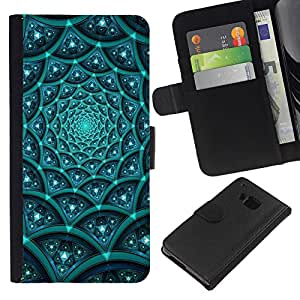 LECELL--Cuero de la tarjeta la carpeta del tirón Smartphone Slots Protección Holder For HTC One M9 -- Modelo azul Sci FI --
