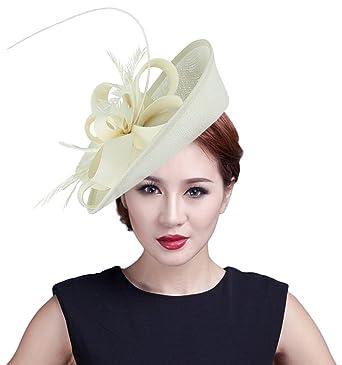 711cc0eeeb2 Gemvie Women Wedding Party Bow Feather Fascinator Hair Clip Hat Beige