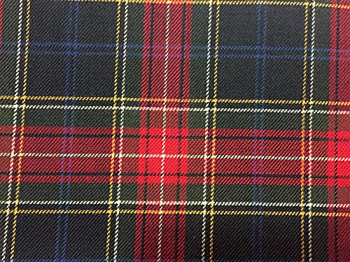 VF166-02 Hockey Plaid - Black and Red Worsted Wool Flannel Tartan Fabric - Wool Flannel Yard