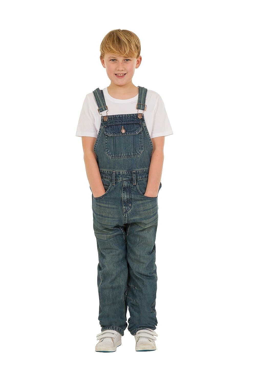 Uskees Tom Kids Slim Fit Dungarees - Darkwash Childrens Denim Overalls Age 4-14 TOMDW