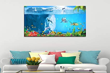 Wall Decorations for Living Room Blue Wall Decor Sea Turtle Whale Coral  Decor Playroom Decor Artwork for Walls Canvas Art Framed Wall Art for  Bedroom ...