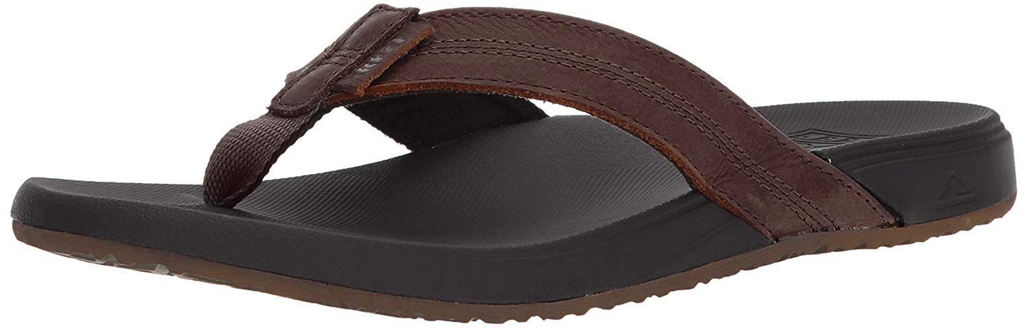 Reef Men's Sandals Cushion Bounce Phantom Leather | Flip Flops for Men with Cushion Bounce Footbed, Black/Brown, 10 by REEF