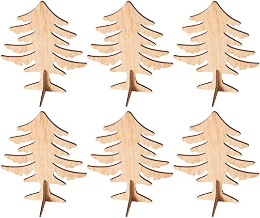 Amazon Com Amosfun 6pcs Wooden Christmas Tree Crafts 3d Unfinished Natural Wood Cutouts Sculpture Tabletop Xmas Tree Ornament For Cabinet Bookshelf Party Decor Arts Crafts Sewing