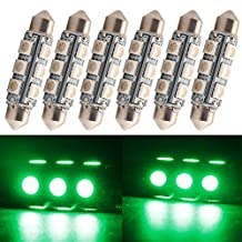 """Everbright 6-Pack Green 44MM 1.72"""" 5050 Chipes 12-SMD 211-2 212-2 569 578 LED Festoon Interior Map / Dome Dome / Trunk / Glove Box Lights LED Lamp (DC-12V)"""