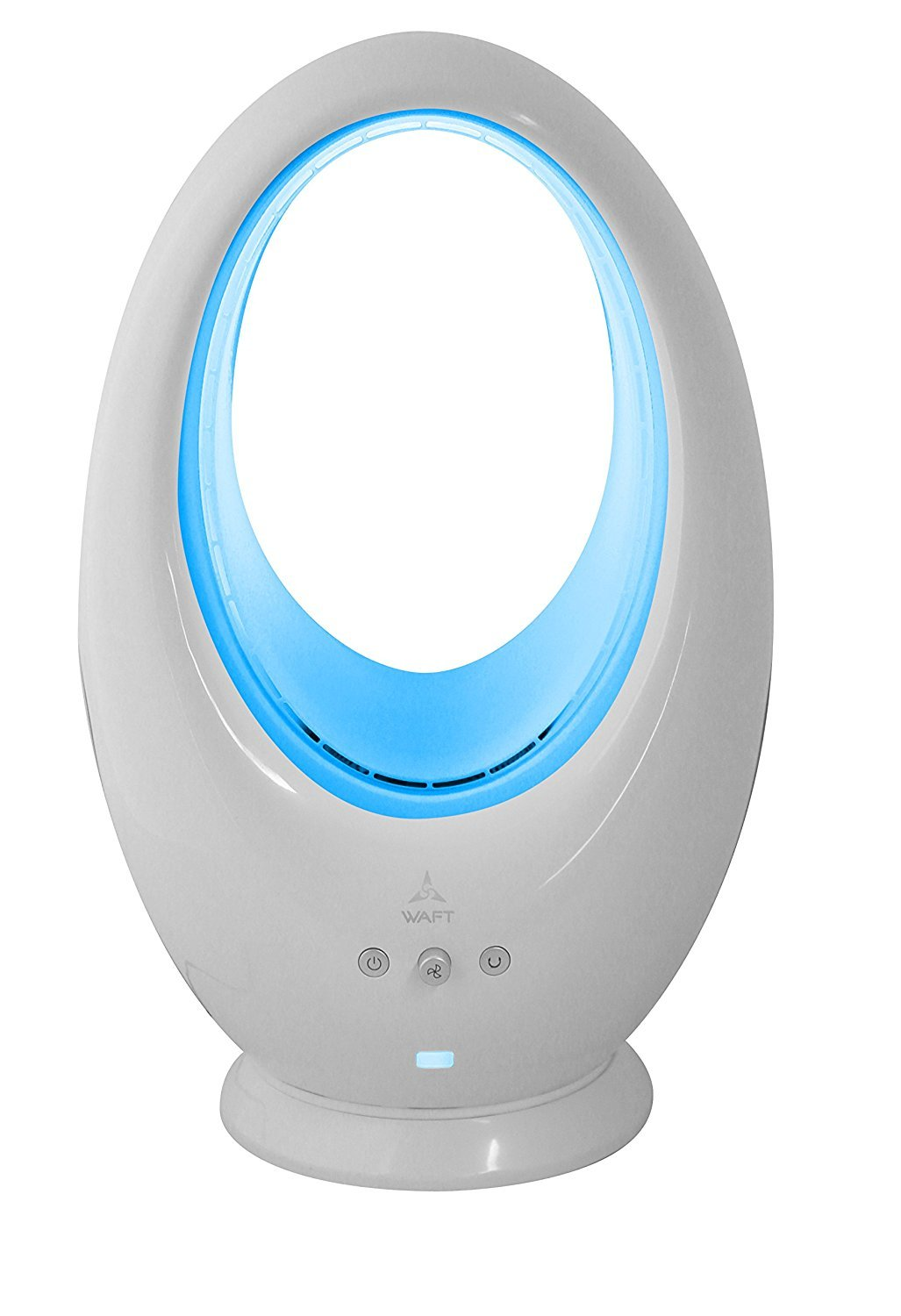 Bladeless Fan By Waft, Oscillating Fan Alternate Between 16 Colors Decorative LED Light, Remote Control Included (Silver)