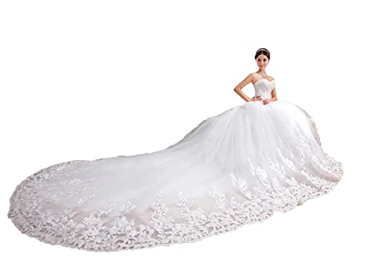QueenBridal Sweetheart Lace Chapel Train Ball Gown Wedding Dresses ...