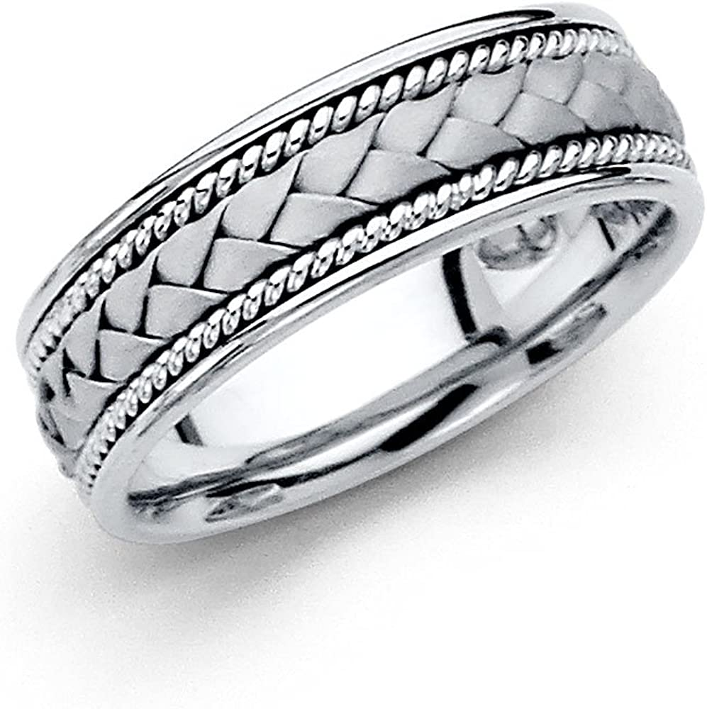 Jewels By Lux 14K White Gold Mens Solid 6mm Braided Traditional Classic Comfort Fit Wedding Ring Band