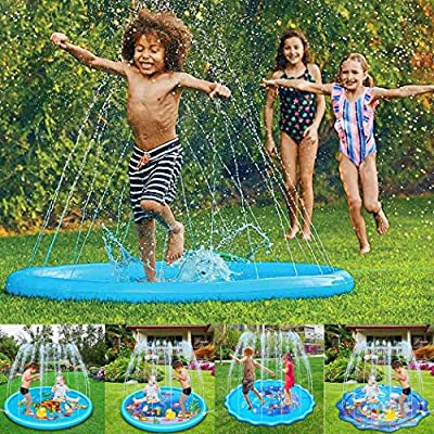 lazinem Inflatable Game Spray Water Cushion Kids Play Water Mat Lawn Sprinkler Pad Swimming: Sports & Outdoors