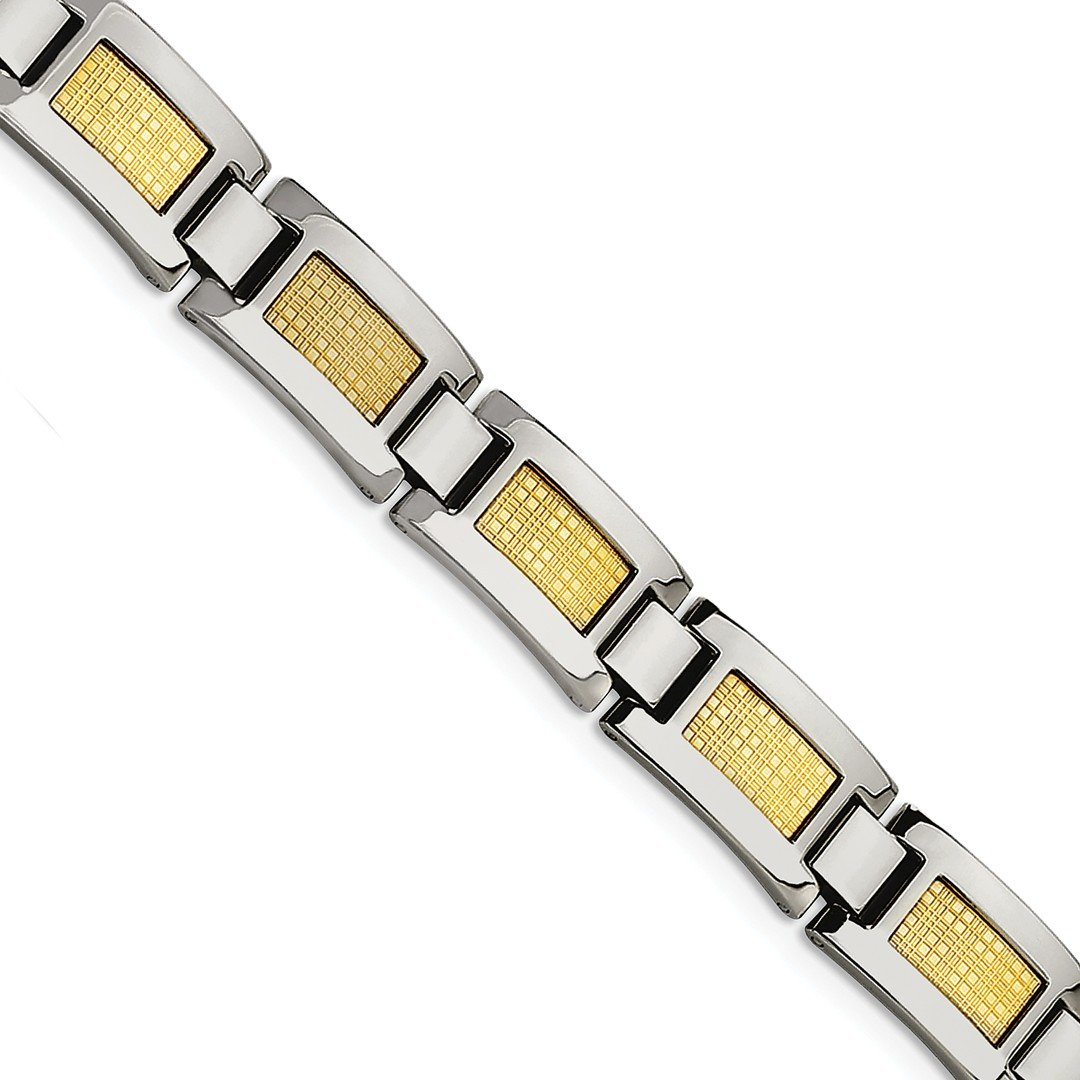 ICE CARATS Stainless Steel 18k Gold Foil 8.25in Bracelet 8.25 Inch Man Link Men Fine Jewelry Dad Mens Gift Set