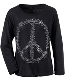 ANISTON Damen Pullover Pulli Feinstrick Nieten Peace Oversize schwarz (42) 59c416616d