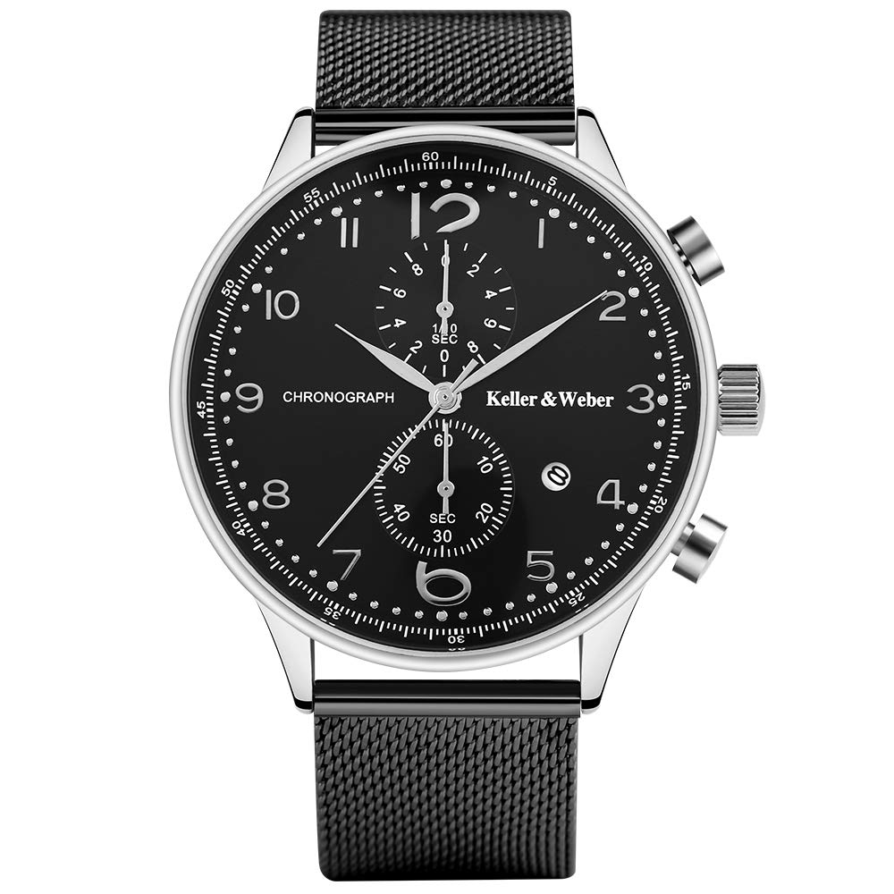 Watches for Men, Men's Quartz Wrist Watch, Chronograph Waterproof Black Silver Stainless Steel Mesh