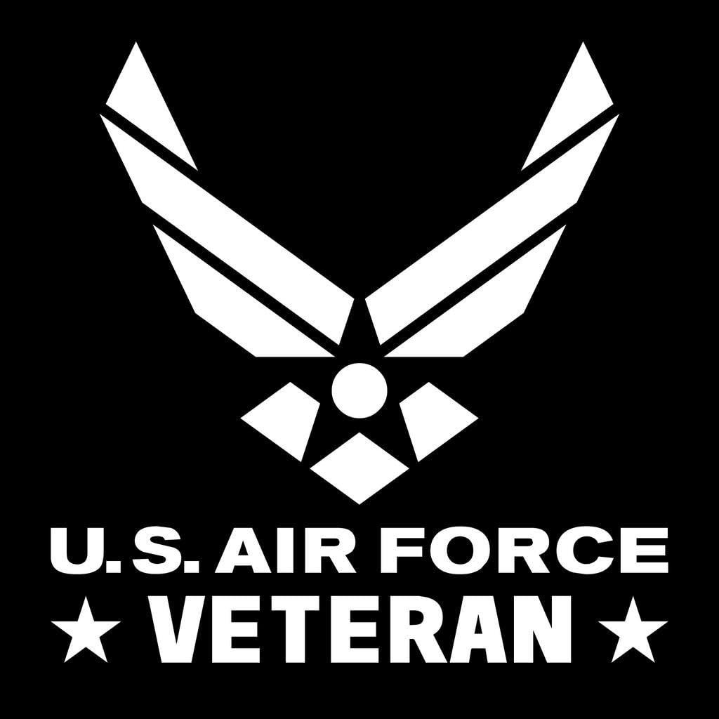 Air Force Veteran Emblem Vinyl Decal Sticker | Cars Trucks Vans Walls Laptops Cups | White | 5.5 X 5.4 Inch | KCD1725