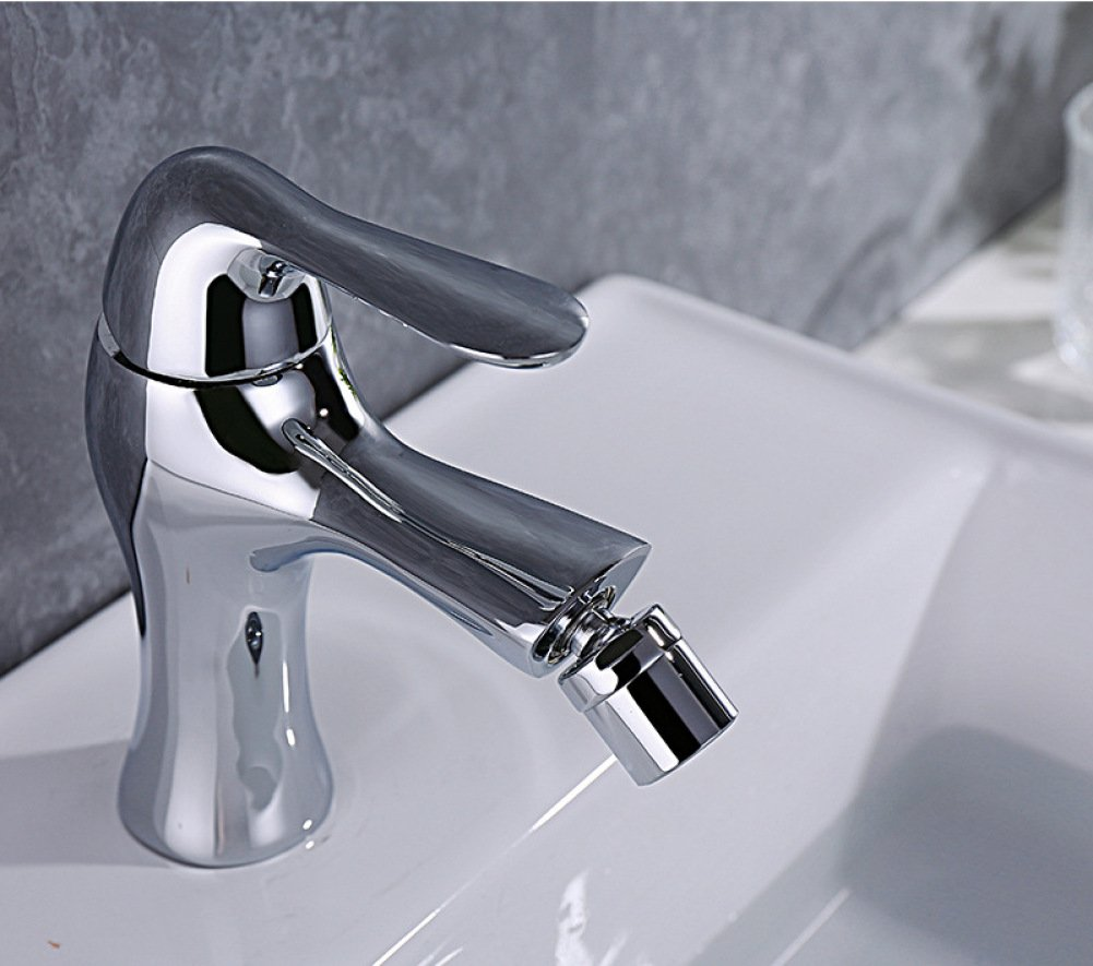 GZF Bathroom Sink Taps Faucet full copper multilayer chrome movable spout tap continental bathroom bathroom hot and cold basin faucet