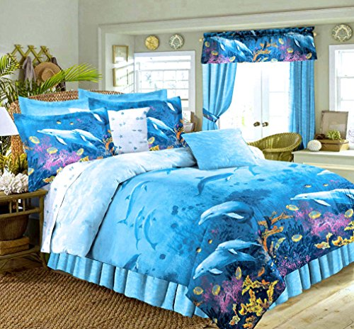 Dolphin Sheets - DOLPHINS Cove Sea Life Blue Comforter & Sheet Set (6pc Twin Size 66