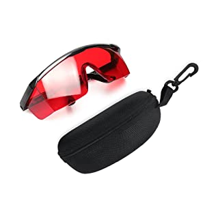 Red Laser Enhancement Glasses - Huepar GL01R Adjustable Eye Protection Safety Glasses for Red Alignment, Cross & Multi Line and Rotary Lasers with Anti Lost Function and Free Hard Protective Case