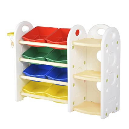Attirant PrideBebe Kids Toy Storage Organizer Shelves For Kid 8 Plastic Bins (#5  Primary)