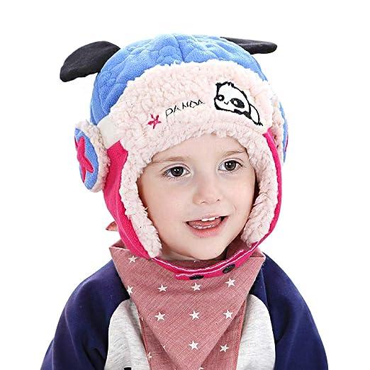 9e0ac863d72 Children s Panda Pilot Earmuffs Baby Plus Velvet Earmuffs Warm Bomber Cap  (Blue)