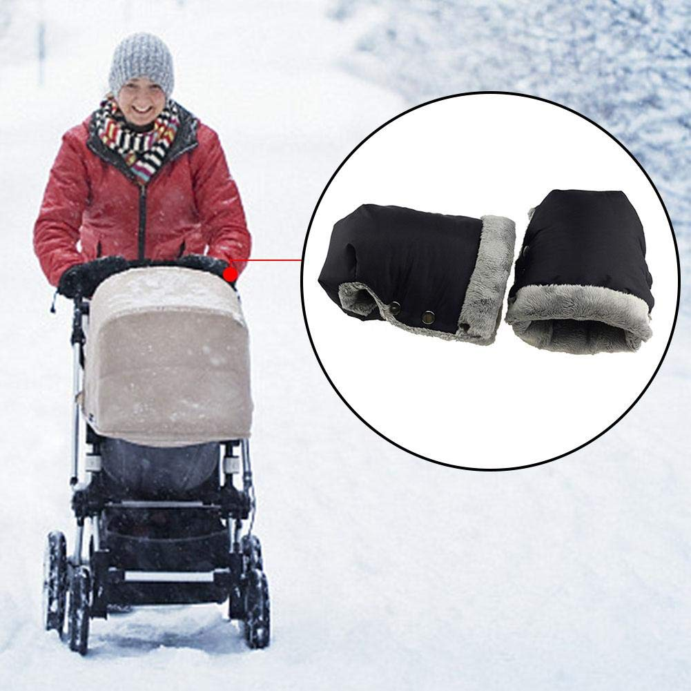 Practical Outdoor Stroller Fleece Hand Muff For Winter lembrd Baby Stroller Warm Waterproof Gloves Antifreeze Gloves For Mothers With Babies Plush Gloves For Baby Carriage