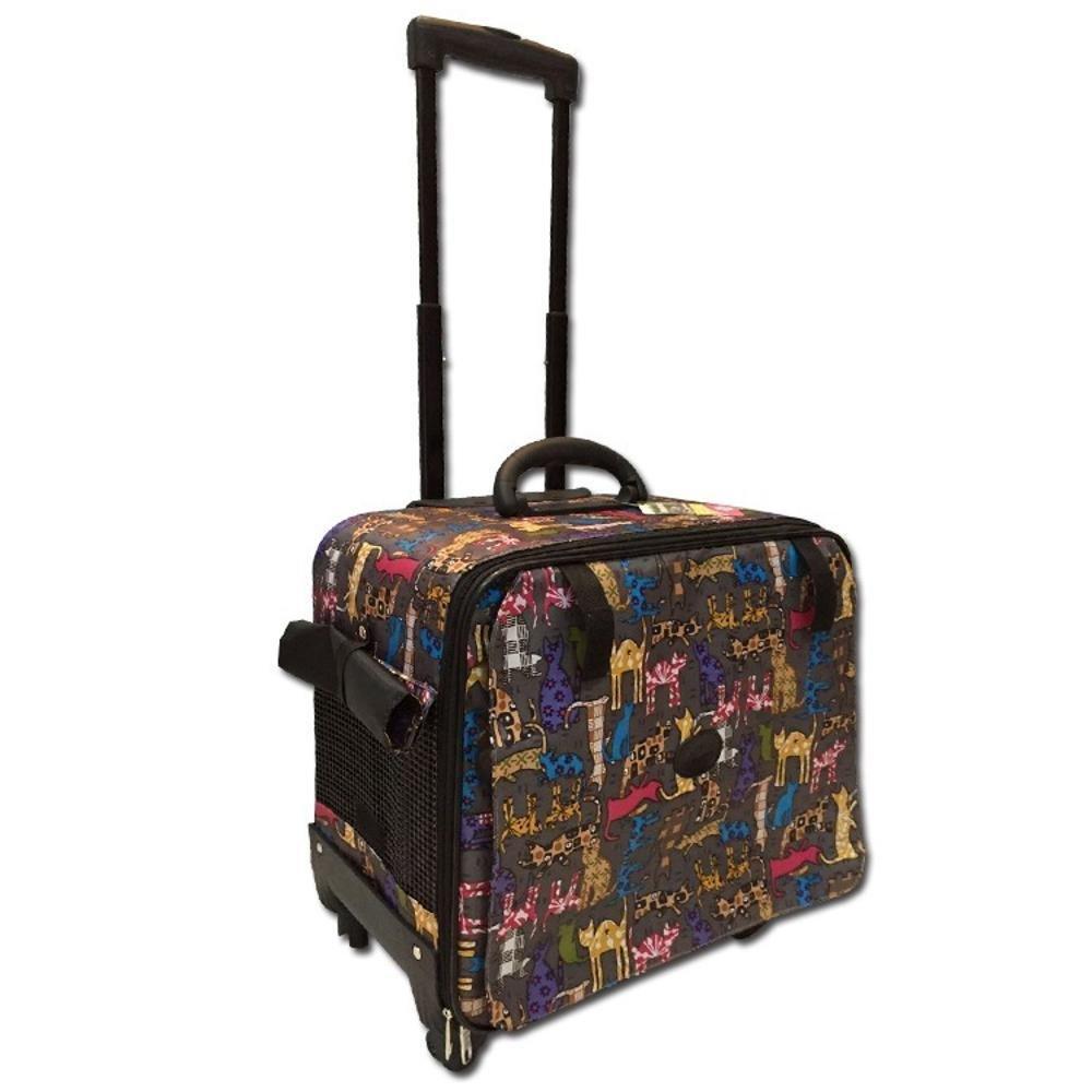 Aoligei Nylon Foldable Trolley Case Bag Portable pet Dog Suitcase cat cage, 42cm24cm42cm