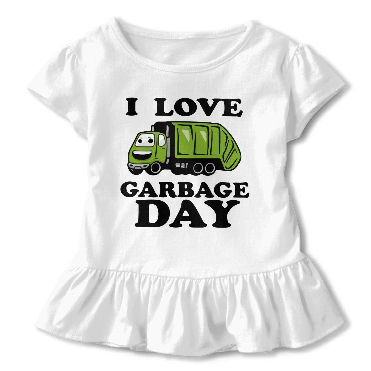 I Heart Love Trash Garbage Trucks Baby Girls Round Collar Shirt Top/&Tee