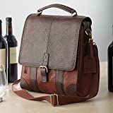 wine carrier tote - 3-Bottle Leather BYO Wine Bag