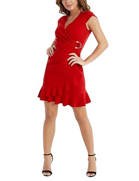 Lipsy Mujers Vestido Cruzado Sin Mangas Con Volante Rojo EU 32 (UK 4)