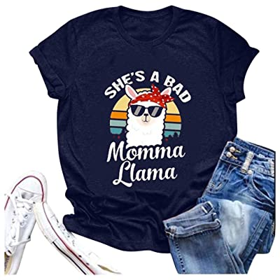 Shakumy She's A Bad Momma Llama T-Shirt Women Funny Cute Letter Printed Graphic Summer Short Sleeve Casual Tee Tops Blouses at Women's Clothing store [5Bkhe2006572]