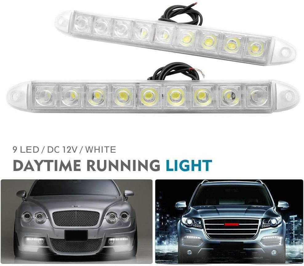 impermeable 12 V 9 luces LED blancas SUNWAN 2 luces diurnas de 12 ledes para coche DRL luz antiniebla