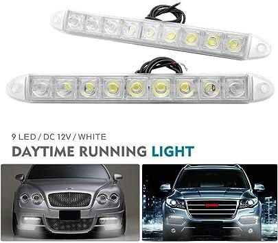 HugeAuto 2X 12LED Daytime Running Lights Car DRL Daylight Fog Lamp Waterproof 12V Driving Head Lights White-12LED