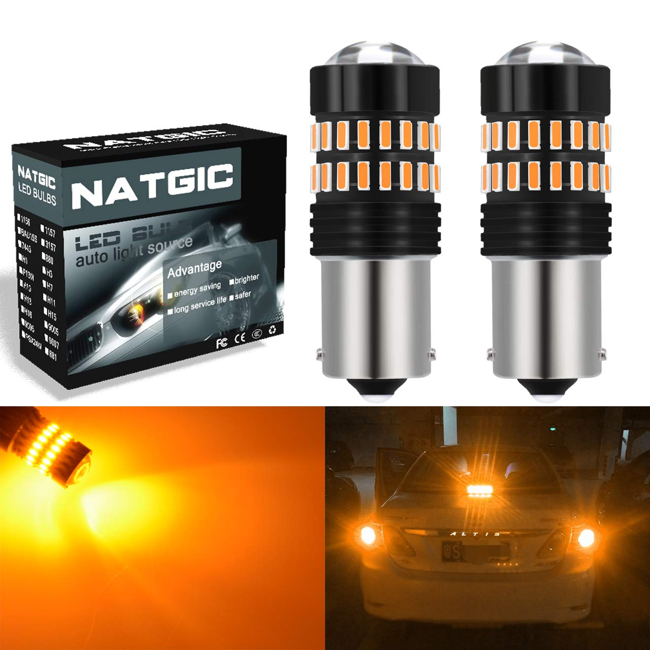 NGCAT 1200LM Amber 1156 LED Bulbs Extremely Bright 48-SMD 4014 LED Chipsets BA15S 7506 1095 1141 LED Bulbs with Projector for Turn Signal Lights Signal Tail Backup Reverse Lights Pack of 2