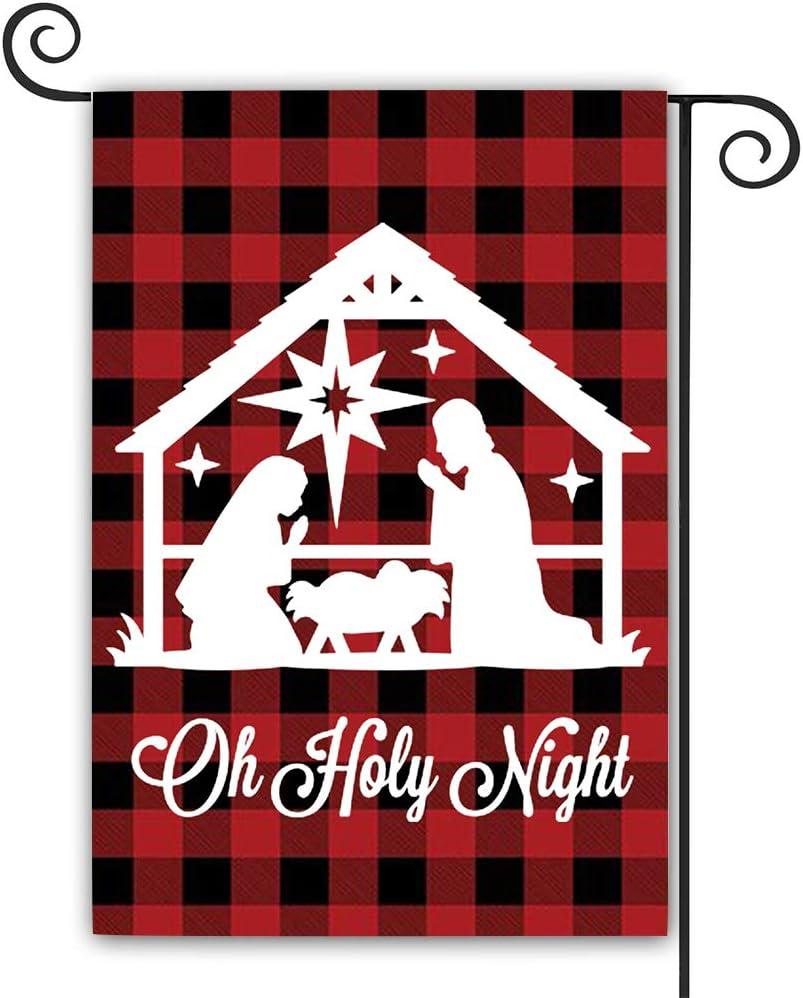 DFXSZ Christmas Garden Flag Buffalo Religious Nativity Burlap Double Sided Garden Flag Farmhouse Yard Outdoor Decoration 12.5x18 Inches