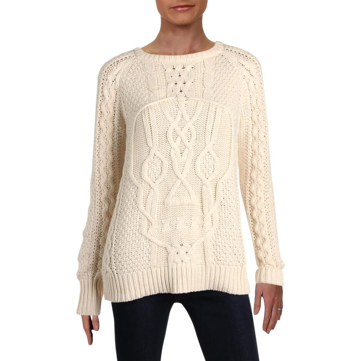 WW Womens Skull Cable Knit Crew Crewneck Sweater