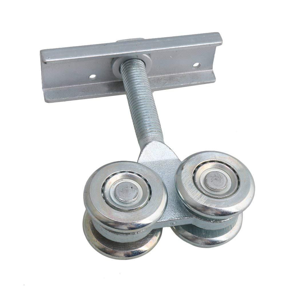 Dia 54mm Steel Double Wheel Rail Hanging Trolley Silver Sliding Track Roller Hanging Barn Door Rail Trolley Wheel H5 w/Nuts by Happynest Box Rail Hangers (Image #2)