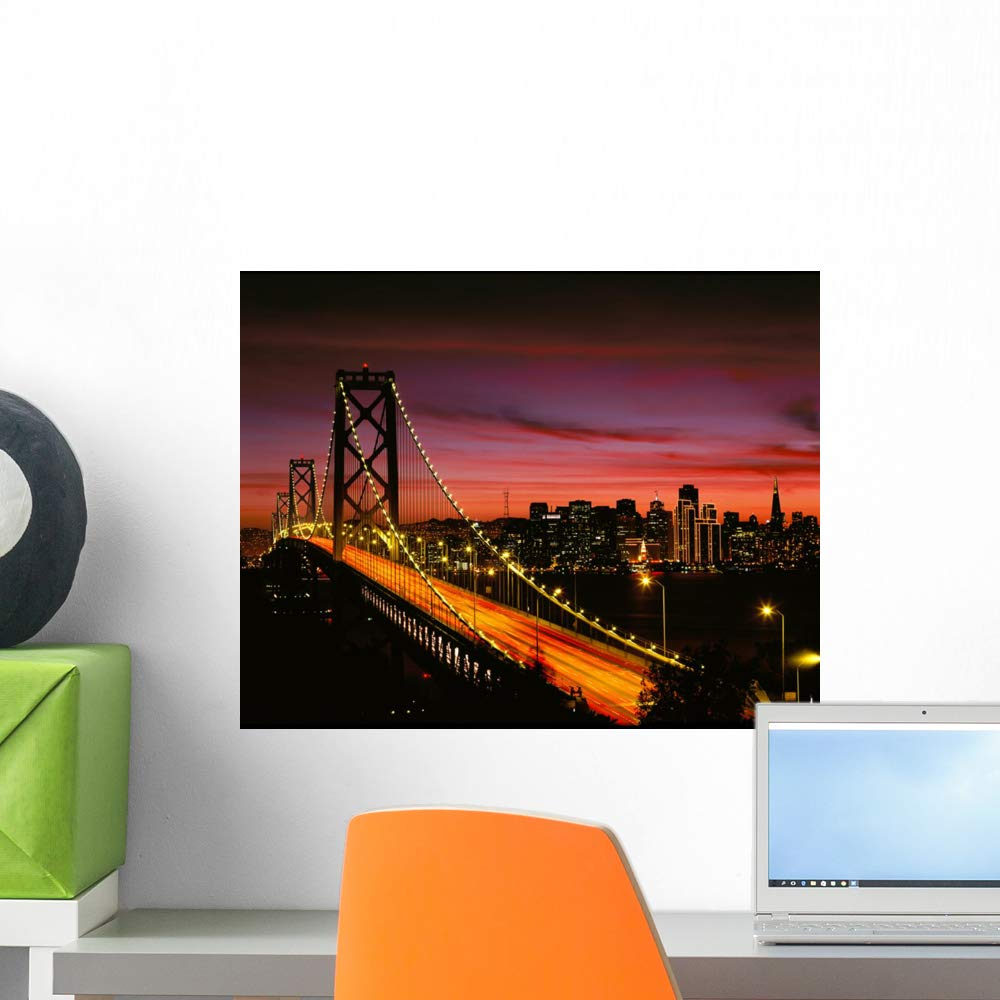 Wallmonkeys San Francisco Bay Bridge Wall Mural Peel and Stick Vinyl Graphic WM525900 60 in W x 47 in H