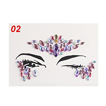 Amazon.com   Adhesive Face Gems Rhinestone Temporary Tattoo Jewels Festival  Party Body Glitter Stickers Flash Temporary Tattoos Sticker 2   Beauty c45b76768734