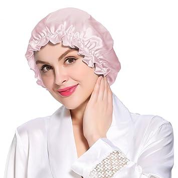 144a4380e43 Amazon.com   LilySilk 100 Mulberry Silk Sleep Cap Night Flounced Head Cover  Bonnet Hair Care Beauty Pure Mulberry 19 Momme   Beauty