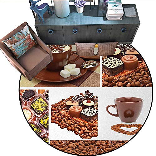 - Kitchen Non-Slip Round Rugs Collection of Chocolate Sweets Muffins Coffee Beans and Mugs Cappuccino Pastries Living Dinning Room and Bedroom Rugs (59