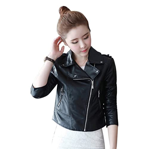 Chaqueta Short Outwear Mujer PU Cuero Zipper Button Decorar Slim Casual manga larga Moto Capa Sobret...