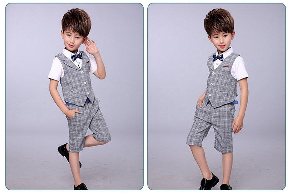 LOLANTA 4 Pieces Boys Summer Wedding Leisure Suit Vest Shirt Short with Bowtie (Grey, 6-7) by LOLANTA (Image #3)