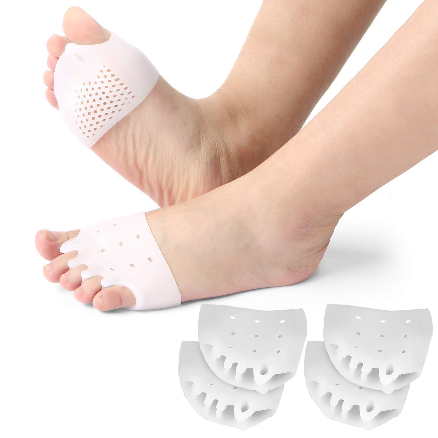 2 Pairs Gel Toe Separators Metatarsal Pads, Gel Toe Straightener for Overlapping Toes, Bunion Corrector, Hallux Valgus Forefoot Pain Relief.